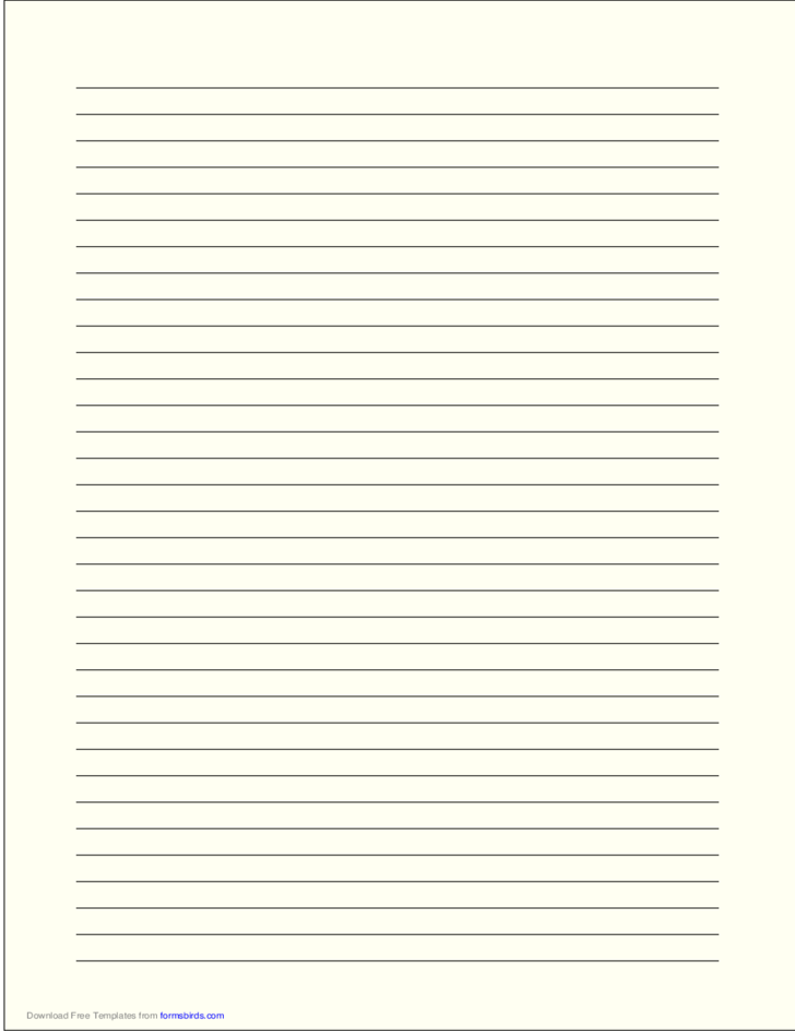A4 Size Lined Paper with Medium Black Lines - Pale Yellow