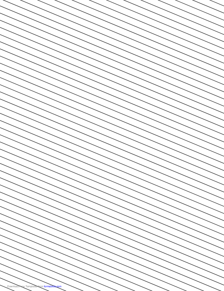 Slant Ruled Paper - Narrow Ruled Left-Handed, Low Angle