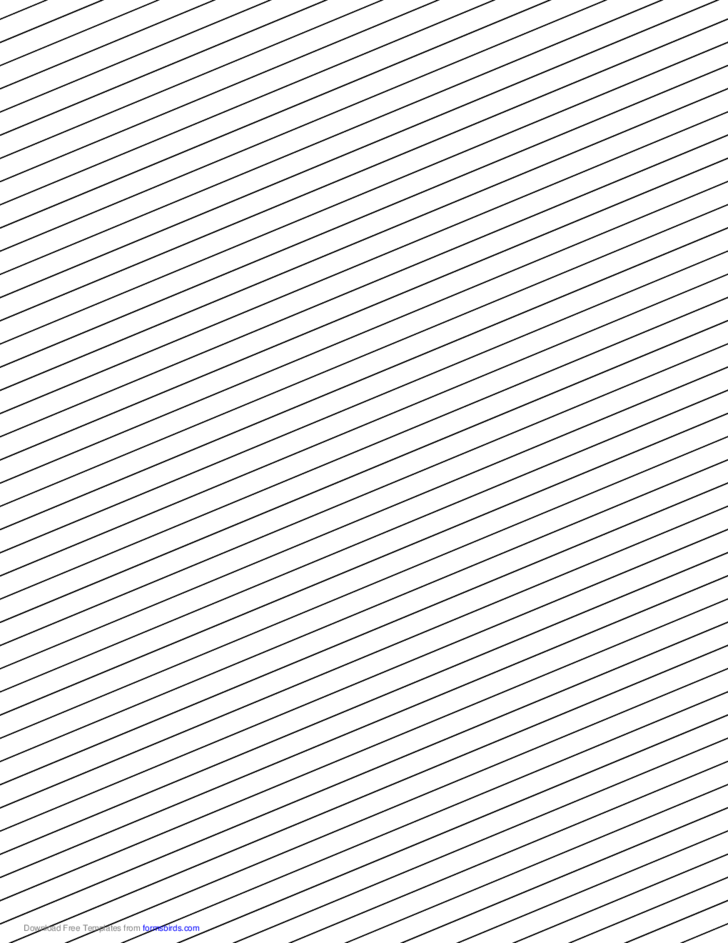 Slant Ruled Paper - Narrow Ruled Right-Handed, Low Angle