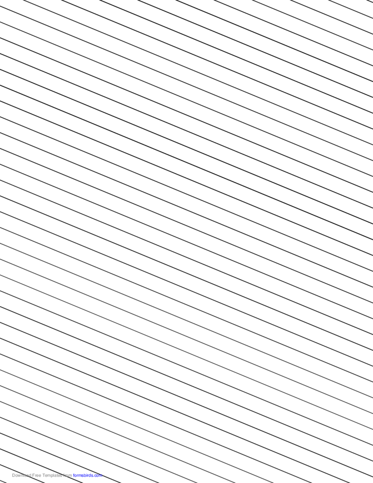 Slant Ruled Paper - Wide Ruled Left-Handed, Low Angle