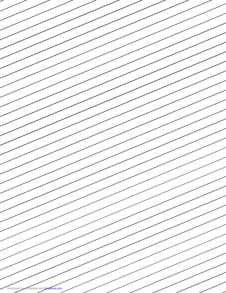 Slant Ruled Paper with Wide Ruled Right Handed, Low Angle