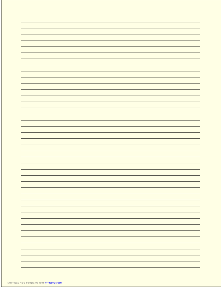 A4 Size Lined Paper with Narrow Black Lines - Light Yellow