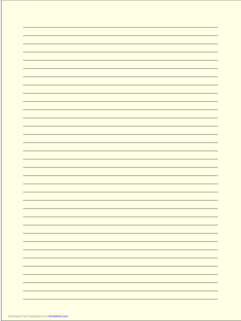 A4 Size Lined Paper with Medium Black Lines - Light Yellow
