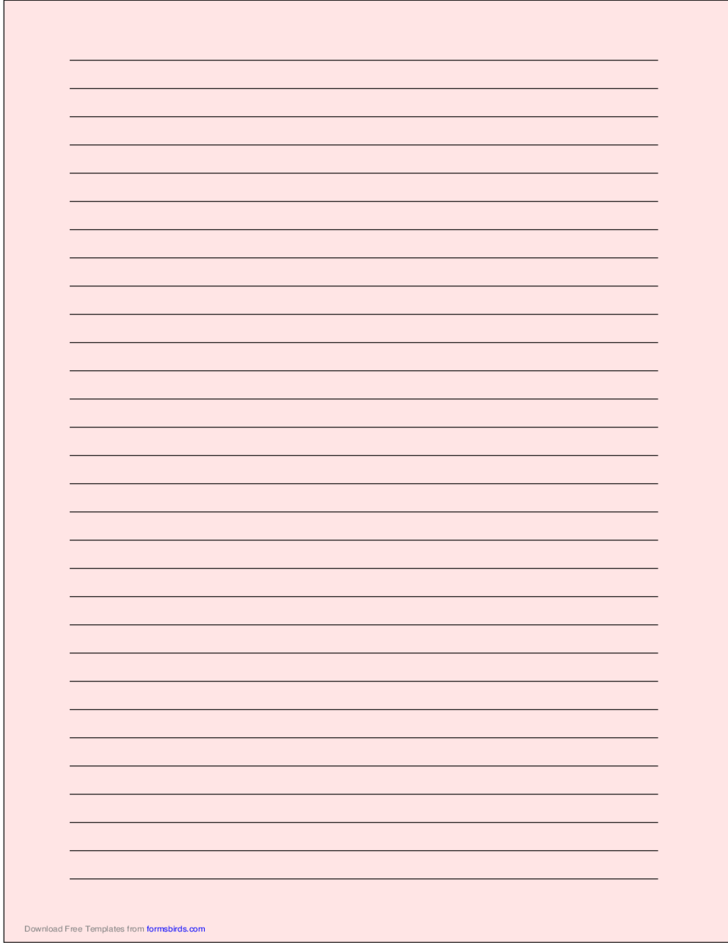 A4 Size Lined Paper with Wide Black Lines - Light Red