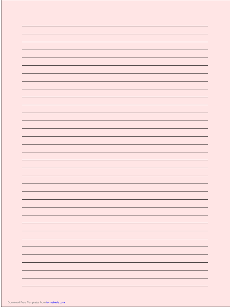 A4 Size Lined Paper with Medium Black Lines - Light Red