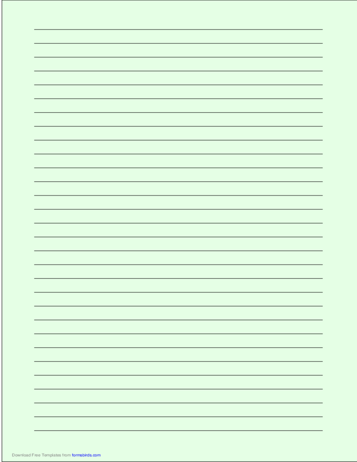 A4 Size Lined Paper with Wide Black Lines - Light Green