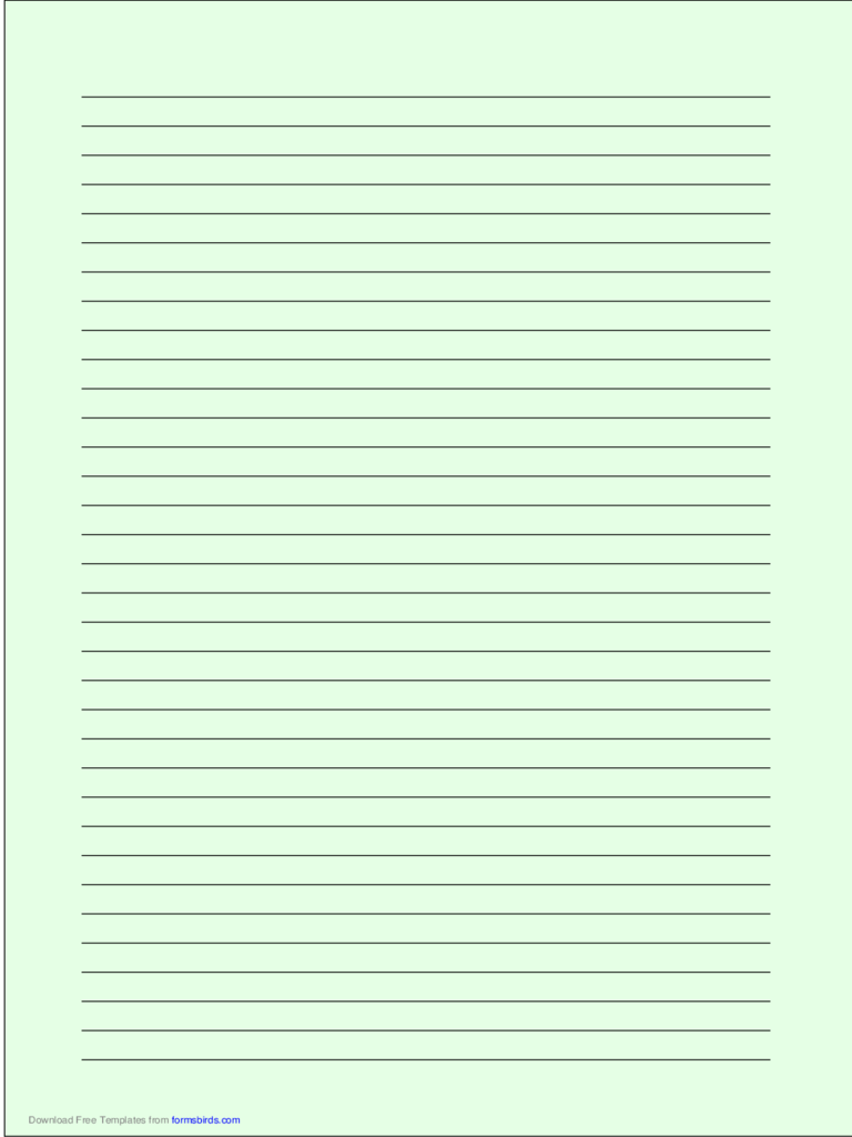 A4 Size Lined Paper with Medium Black Lines - Light Green