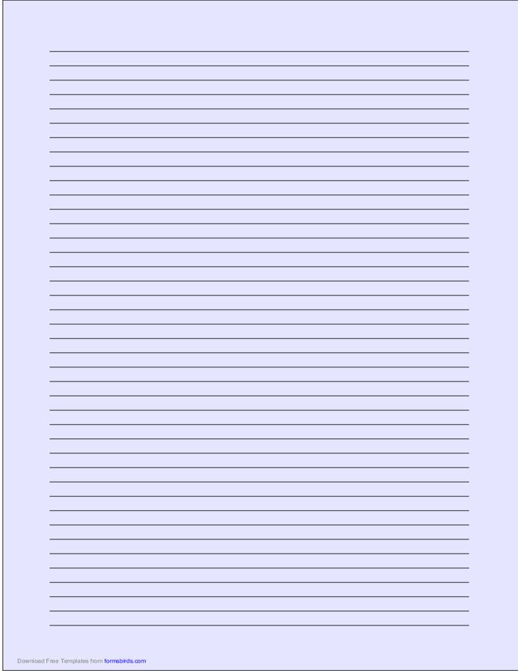 A4 Size Lined Paper with Narrow Black Lines - Light Blue