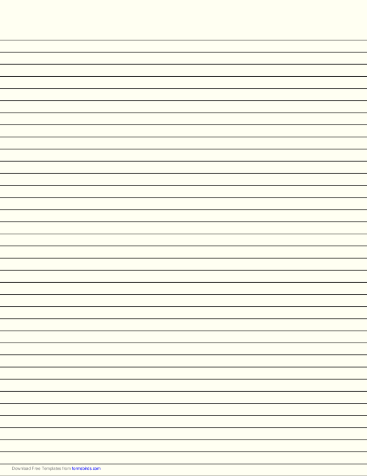 Lined Paper with Medium Black Lines - Pale Yellow