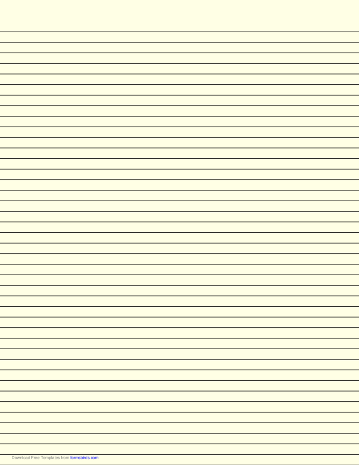 Lined Paper with Narrow Black Lines - Light Yellow