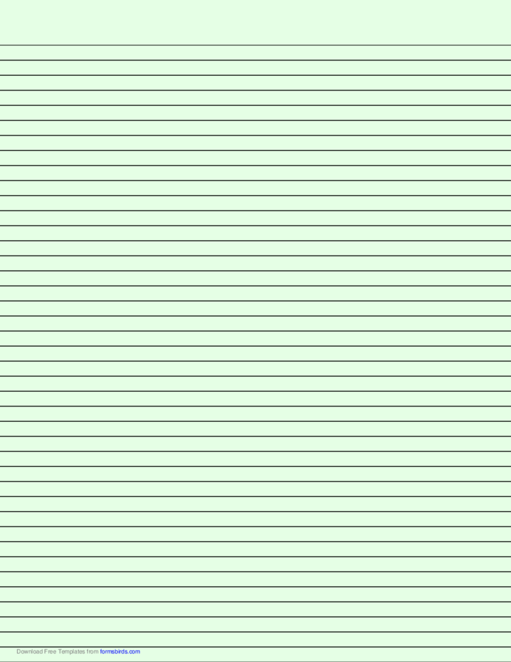Lined Paper with Narrow Black Lines - Light Green