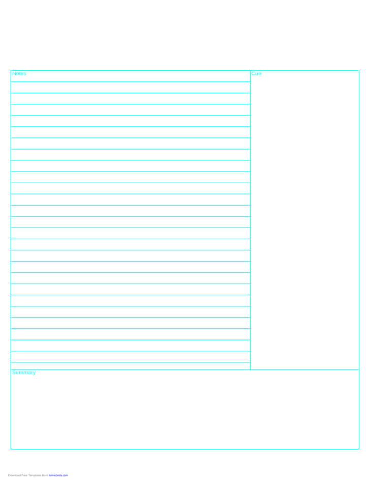 Cornell Note Paper Template - Reversed