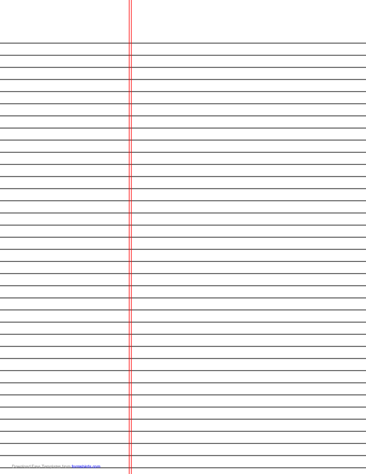 Law Ruled Paper Template (Black Lines)