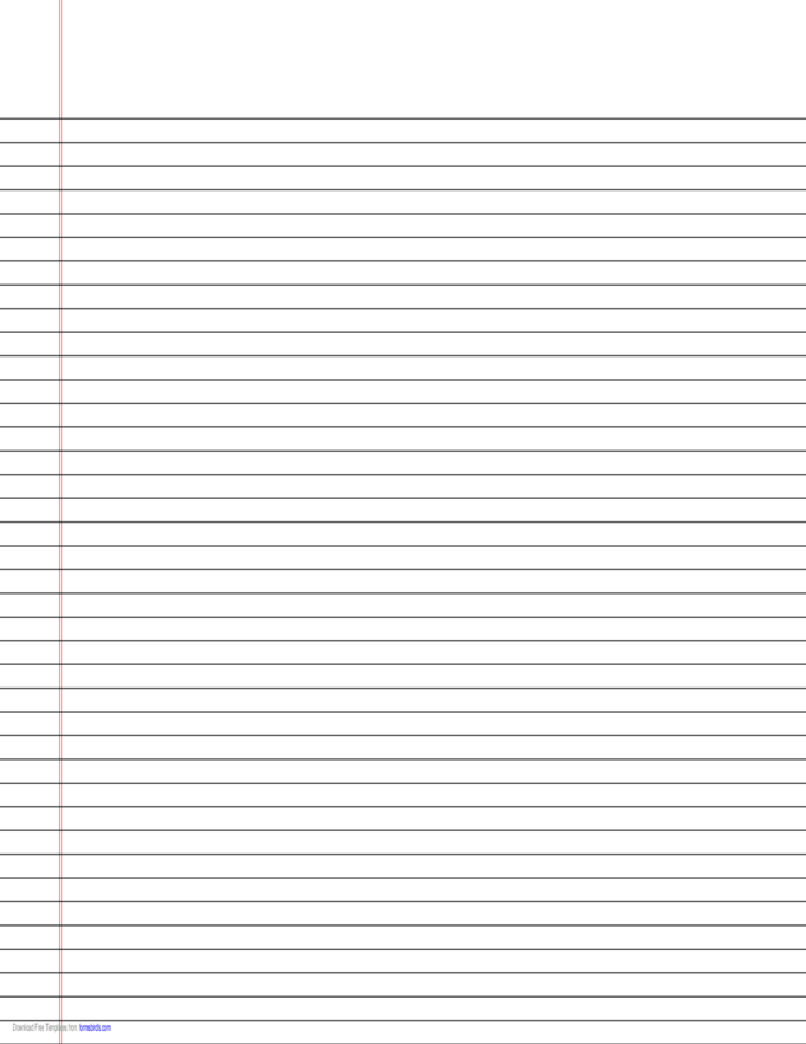Narrow-Ruled Lined Paper on Ledger-Sized Paper in Landscape Orientation