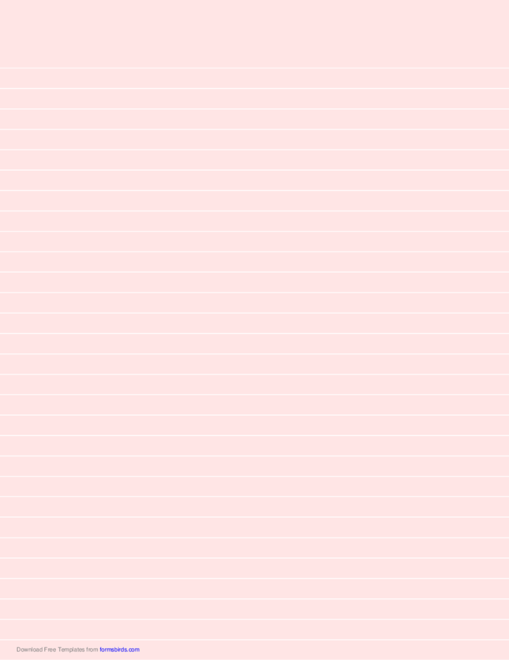 Lined Paper - Light Red - Wide White Lines
