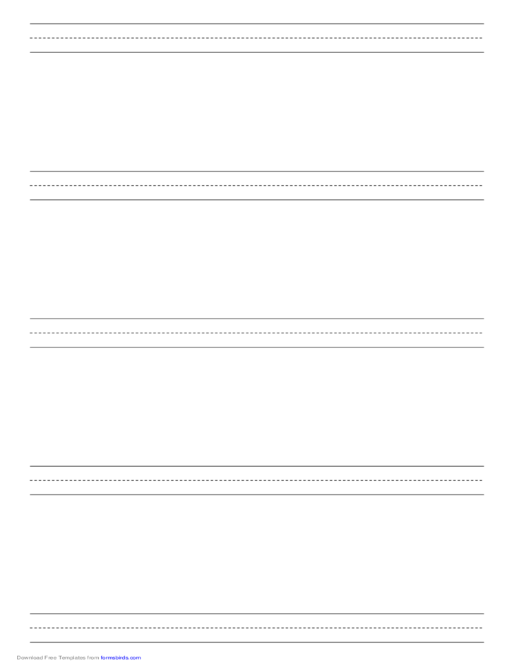 Penmanship Paper with Five Lines per Page on Legal-Sized Paper in Portrait Orientation