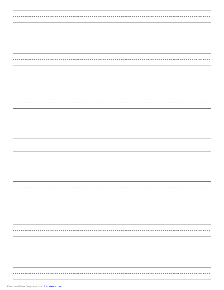 Penmanship Paper with Seven Lines per Page on Legal-Sized Paper in Portrait Orientation