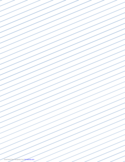 Slant Ruled Paper with Wide Ruled Right Handed, Low Angle - Blue Lines