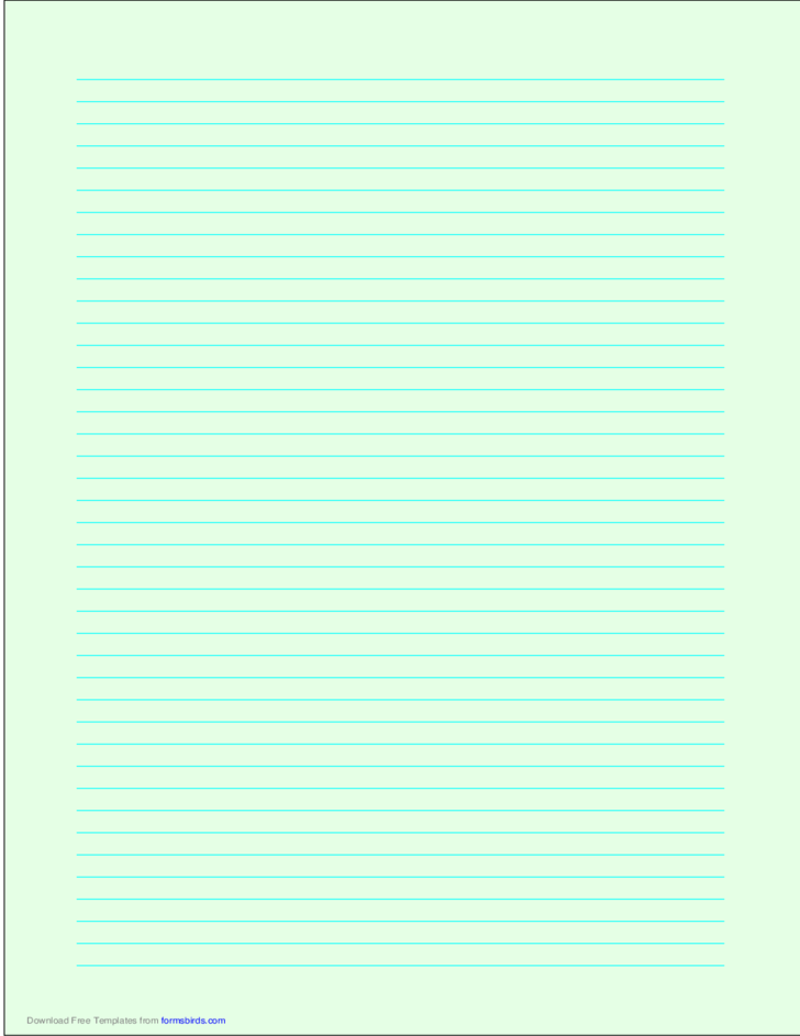 A4 Size Lined Paper with Narrow Cyan Lines - Light Green ...