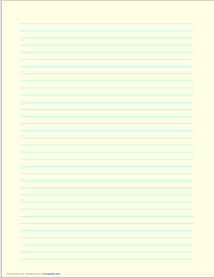 A4 Size Lined Paper with Medium Cyan Lines - Light Yellow