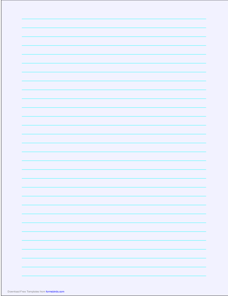 A4 Size Lined Paper with Wide Cyan Lines - Pale Blue