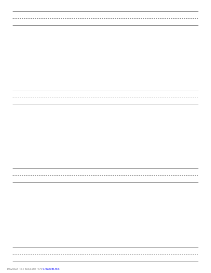 Penmanship Paper with Four Lines per Page on A4-Sized Paper in Portrait Orientation