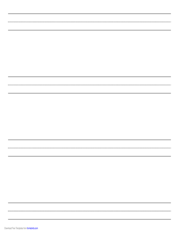 Penmanship Paper with four Lines per Page on Letter-Sized Paper in Landscape Orientation