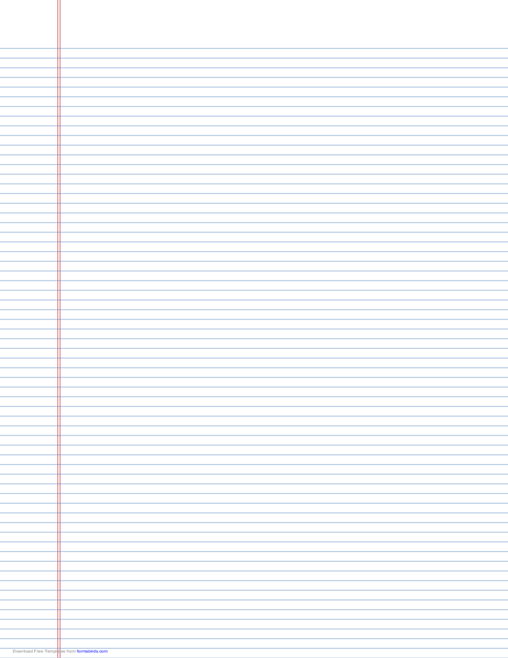 Narrow-Ruled Lined Paper on Ledger-Sized Paper in Portrait Orientation (Blue Lines)