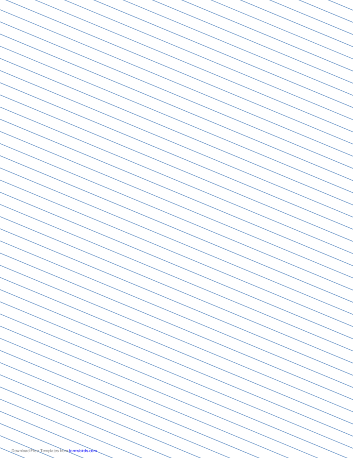 Slant Ruled Paper with Medium Ruled Left-Handed, Low Angle - Blue Lines