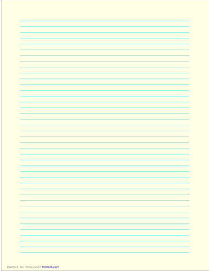 A4 Size Lined Paper with Narrow Cyan Lines - Light Yellow