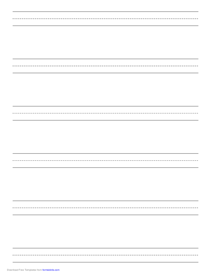 Penmanship Paper with Six Lines per Page on A4-Sized Paper in Portrait Orientation