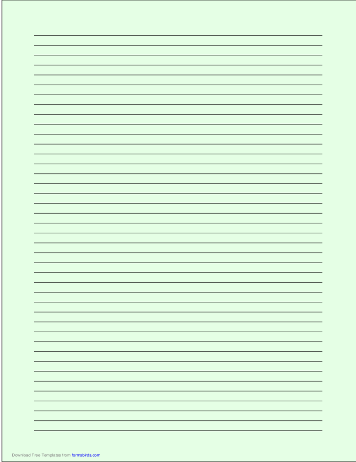 A4 Size Lined Paper with Narrow Black Lines - Light Green