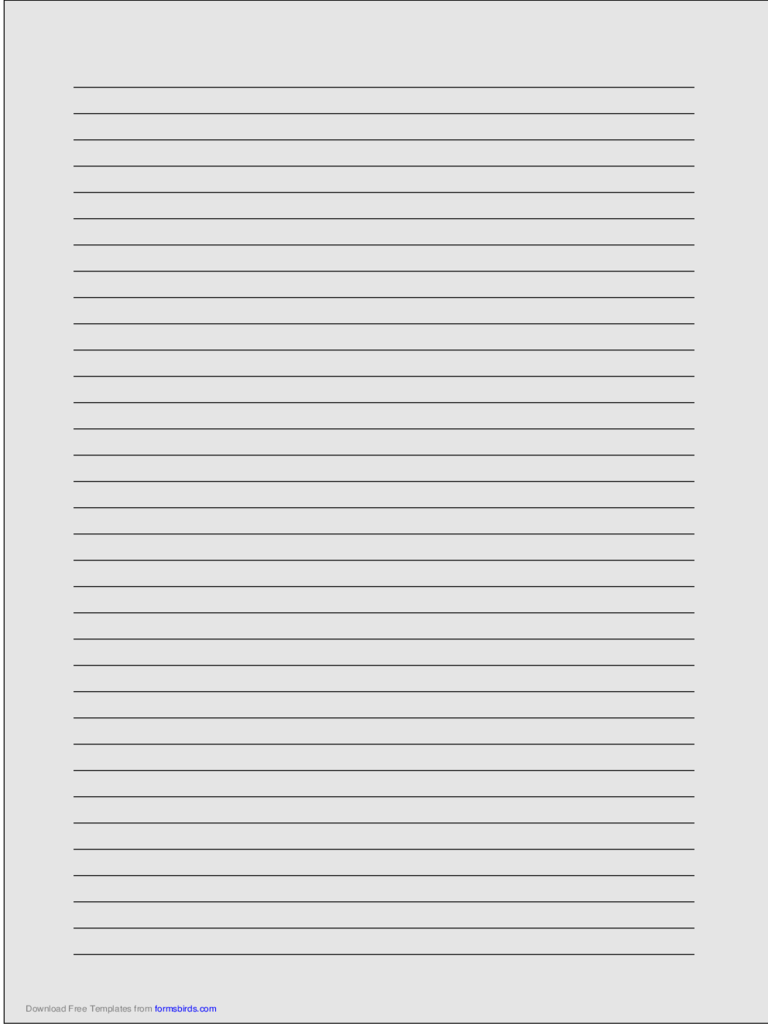 A4 Size Lined Paper With Medium Black Lines   Light Gray  Lined Paper Word