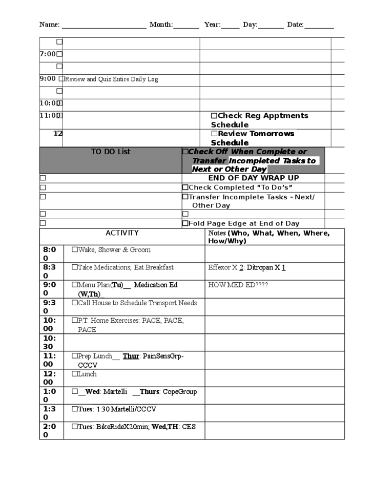 Sample List of Things to Do Free Download