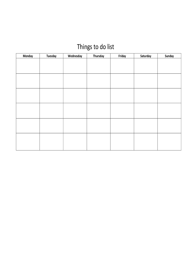 Weekly Things To Do List