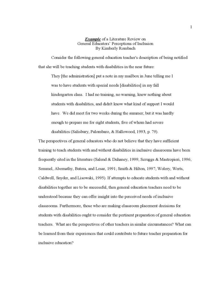 Example of a Literature Review Free Download