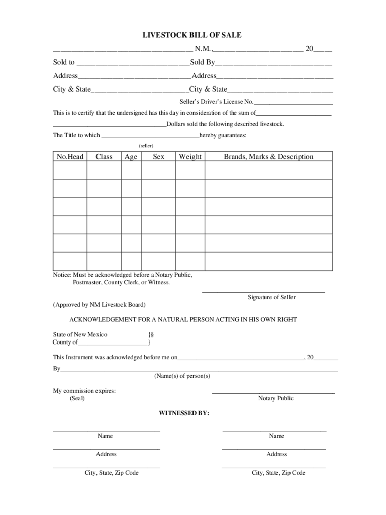 Livestock Bill of Sale Form - New Mexico