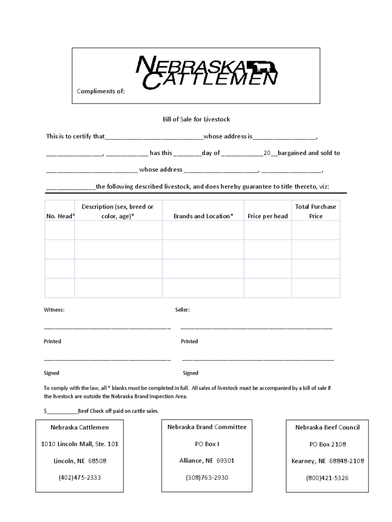 livestock bill of sale form 4 free templates in pdf word excel