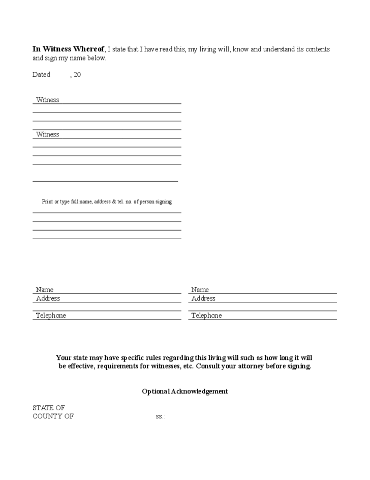 joint will and testament template - three page living will free download