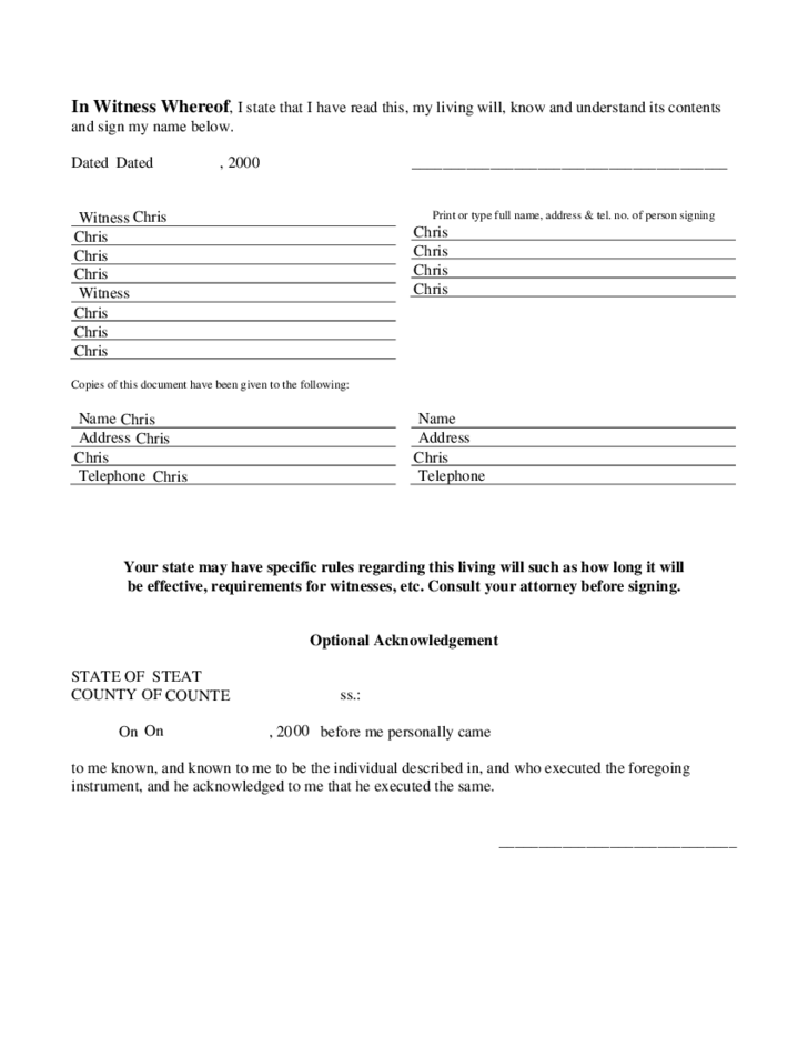 Living will template free download for Free printable living will template