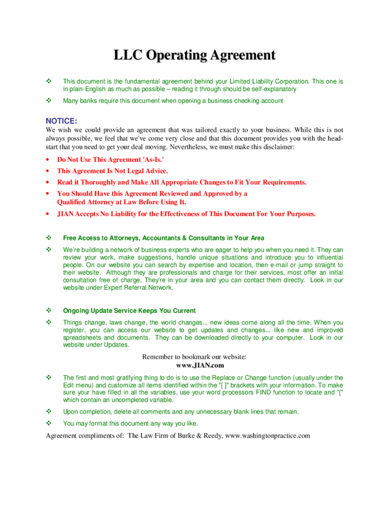 Llc operating agreement template 6 free templates in pdf for Operation agreement llc template