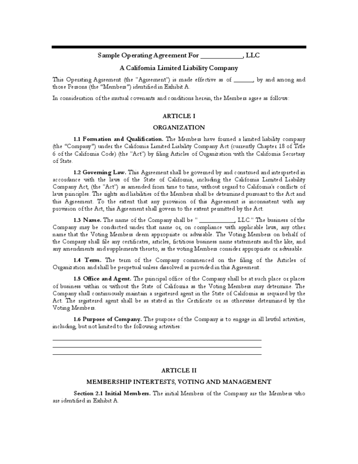 Sample operating agreement california free download for Operation agreement llc template