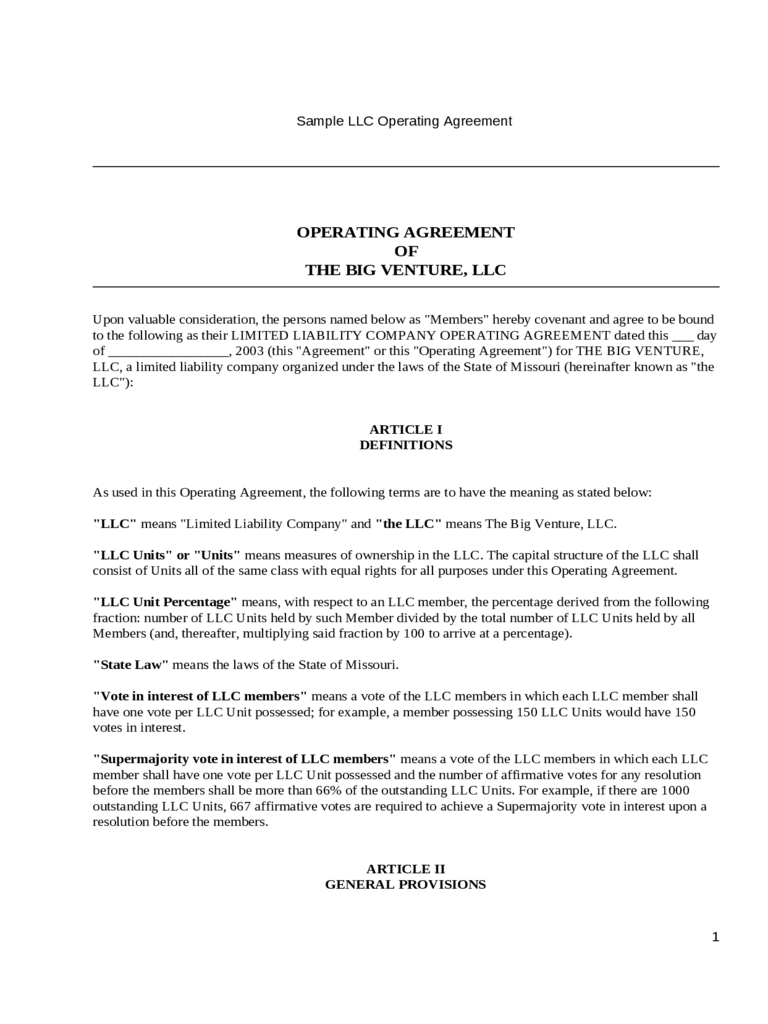 Llc Operating Agreement Template 6 Free Templates In Pdf