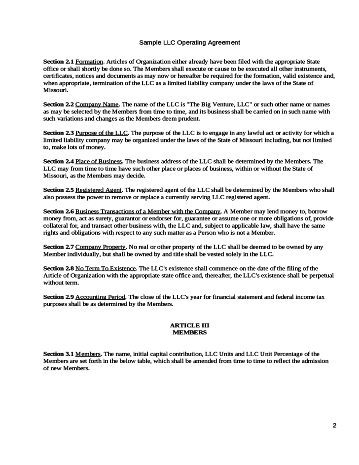 Llc Operating Agreement Missouri Image Collections