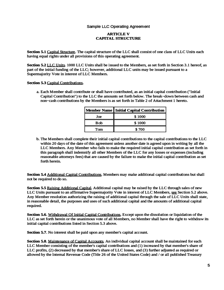 Operating agreement of the big venture llc free download for Vesting certificate template