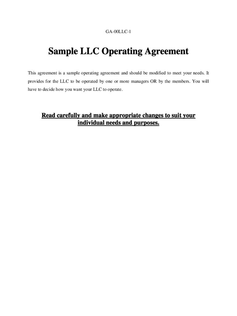 Business Operating Agreement Templates