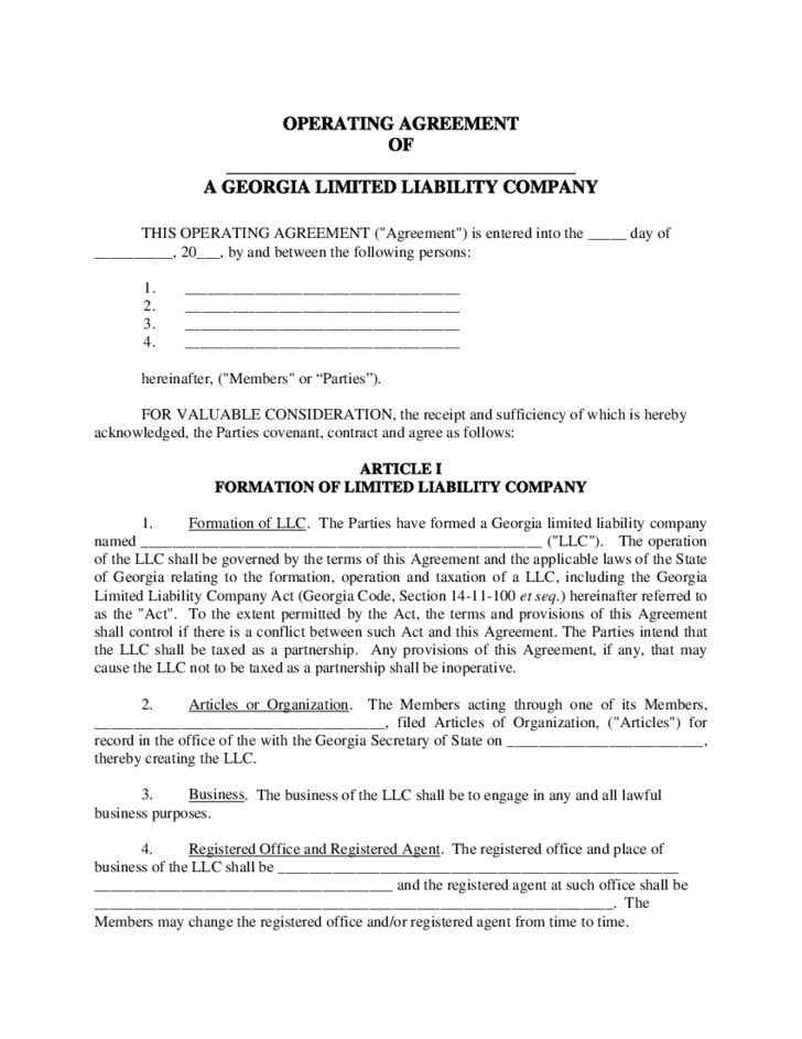 operating agreement template free - sample llc operating agreement free download