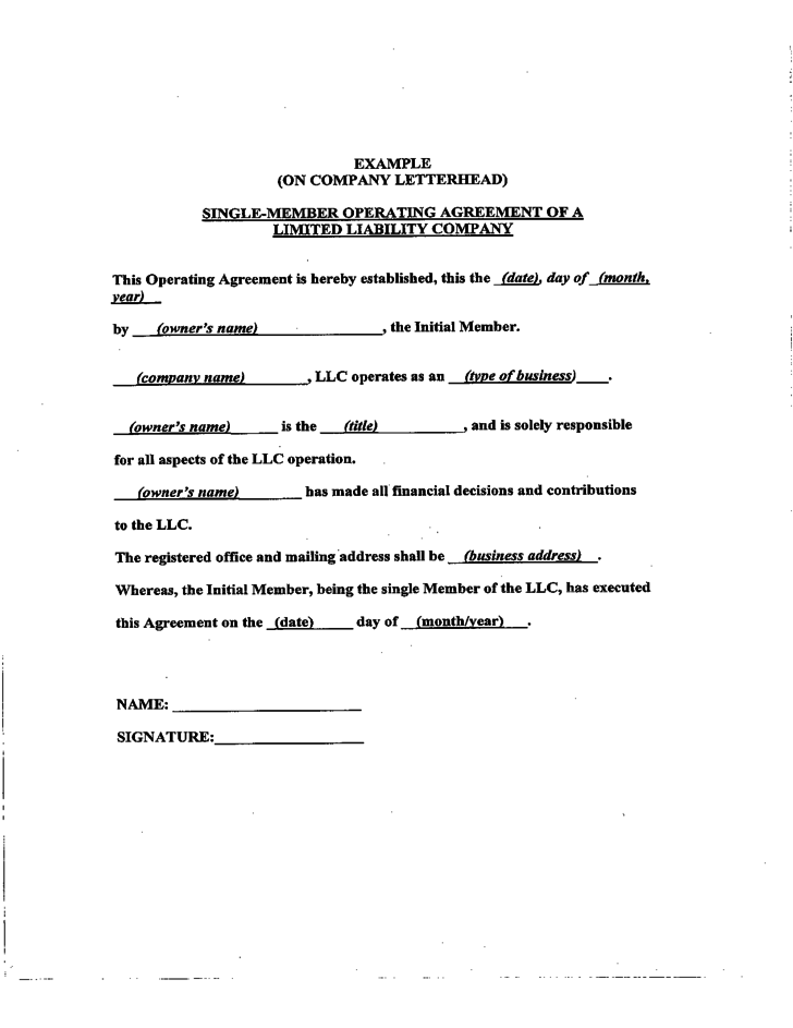 sample llc operating agreement sample free download