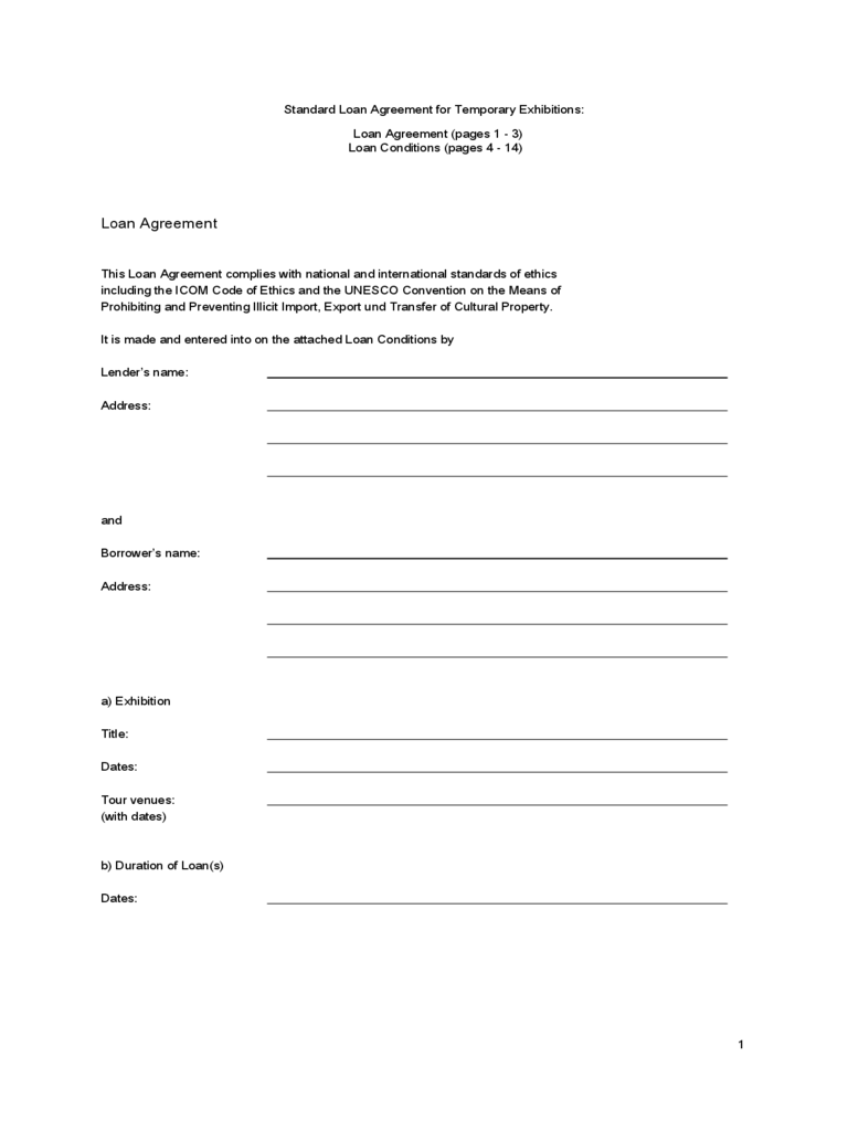 Standard Loan Agreement for Temporary Exhibitions