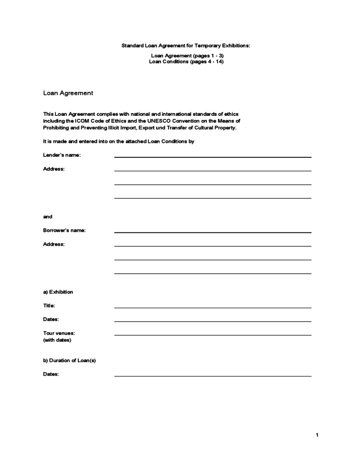 Contract template loa – Standard Loan Agreement Template Free